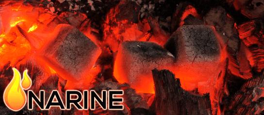 Kokosové uhlie Narine rozpaľujúce sa v krbe