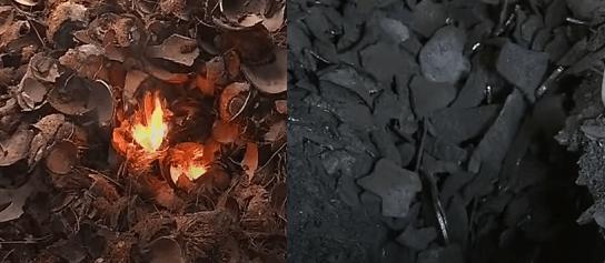 Výroba kokosového uhlia